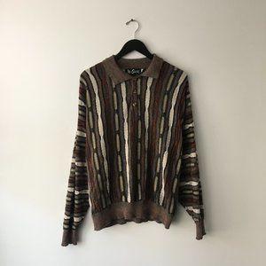 Alan Stuart Cosby Style Sweater Collared USA XL